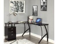 L - Shape Corner Desk in Black