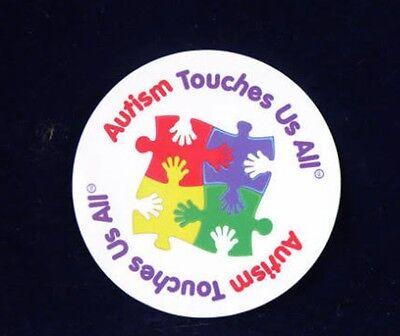 'Autism Touches Us All' round Fridge Magnet