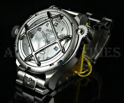 Invicta 52mm LEFTY Russian Diver NAUTILUS Caged Dial SILVER SS Bracelet Watch