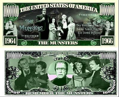 The Munsters Million Dollar Bill Fake Play Funny Money Novelty Note +FREE - The Novelties
