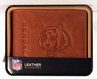 Cincinnati Bengals NFL Embossed Leather Billfold Wallet NEW in Gift - Cincinnati Bengals Nfl Leather