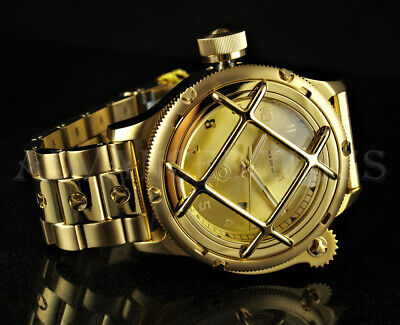 Invicta 52mm LEFTY Russian Diver NAUTILUS Caged Dial 18K Gold Plated SS Watch