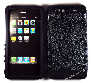 Hybrid-Silicone-Rubber-Cover-Case-for-Motorola-Droid-RAZR-XT912-BK-Glitter-Smoke
