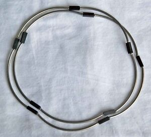 "38"" NECKLACE converts to BRACELET!, Curved Stainless Steel beads"