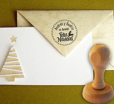 Sello Caucho Feliz Navidad Acebo Personalizado 40 mm, Christmas, Sobres,Tarjetas