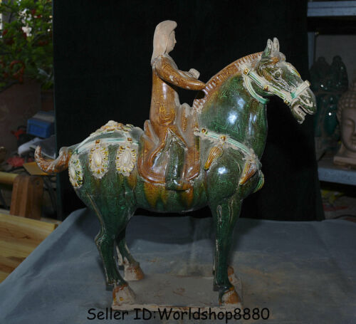 """16.8"""" Valuable Old China Tang San Cai Pottery Porcelain Woman Ride Horse Statue"""