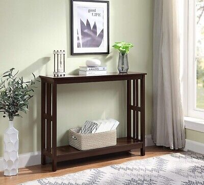Small Mission Console Table Accent Entryway Sofa Hall Entry Narrow Slim Shelf