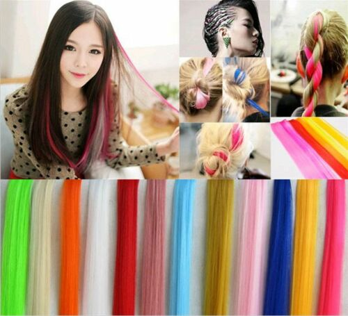Multi-color Long Straight Synthetic Clip in Hair Extensions Piece For Women Girl 1