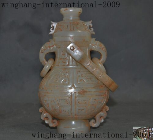 old China 100%hetian White jade carved Dragon Pattern Zun Cup Bottle Vase Statue