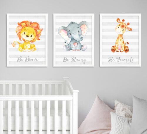 Safari Jungle Animals Lion Elephant Nursery Kids Room Art Prints Set Grey Decor