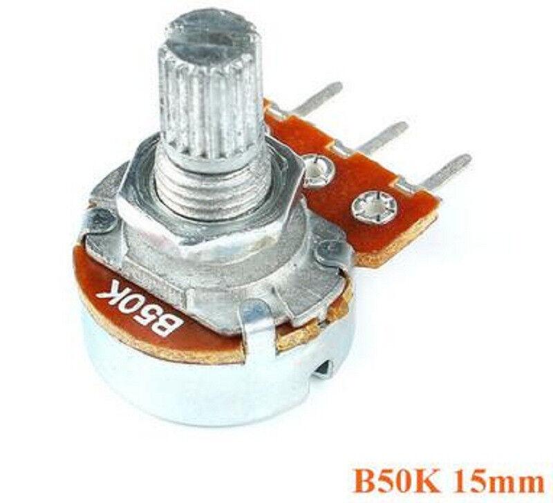 10 pcs With Screw Nuts B50K Linear Single Potentiometer 15mm Shaft