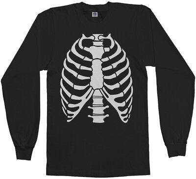Skeleton Rib Cage Halloween Costume Men's Long Sleeve T-Shirt](Skeleton T Shirt Costume)