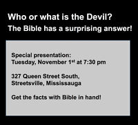 Who or What is the Devil? Special Seminar, Nov. 1st