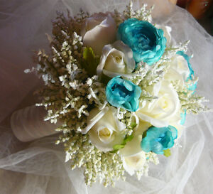 5 Piece Teal/Turquoise & White Wedding Bouquet Flower Package. London Ontario image 3