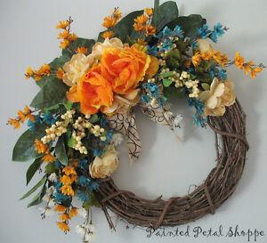 Tangerine & Teal Peony Wreath/Summer/ Fall Wreath Belleville Belleville Area image 2