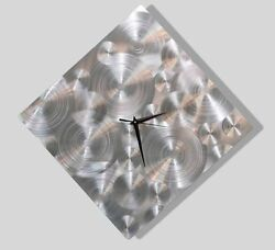 Abstract Silver Metal Wall Clock Functional Art by Jon Allen - Spontaneity