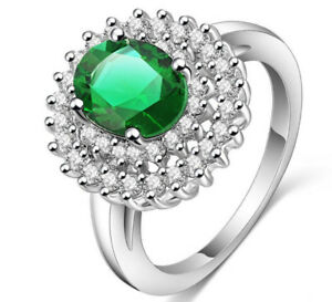 Emerald green silver ring