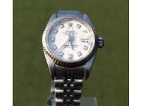 ROLEX LADIES OYSTER PERPETUAL DATEJUST WHITE DIAL SS DIAMOND FACE 79174