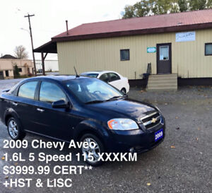 Awesome 2009 Chevy Aveo 1.6L 5SPD ONLY 115 XXX KM $3999.99 CERT