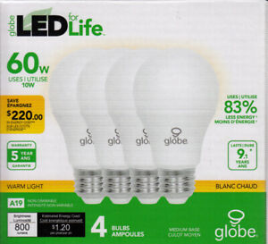 3 Globe Led for Life 60W LED lightbulbs (use 10W).