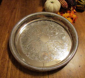 """Vintage Silver-Plated Round Decorative Serving Tray 12 ¼"""" Kitchener / Waterloo Kitchener Area image 1"""