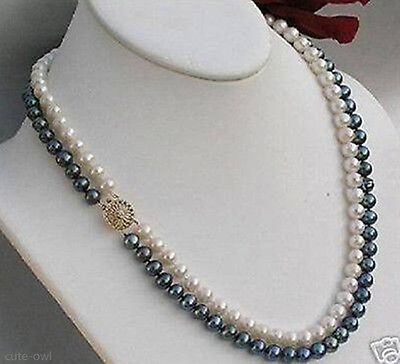 2rows 7-8mm black white freshwater Cultivation pearl necklace New jewelry (Row White Freshwater Pearls)