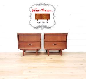 Ensembles 2 tables de chevet Vintage Noyer et Teck Rétro 1960  P