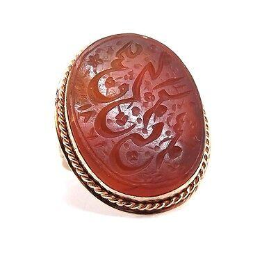 Vintage CARNELIAN Carved Arabic Prayer Script Turkish 14K Rose Gold Ring s 7-1/2 for sale  San Jose