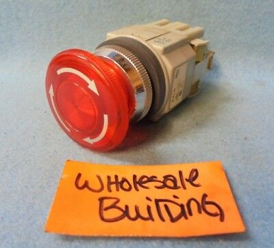Idec Push Button Avln Twist To Release E-stop Red Led Lamp - 24v