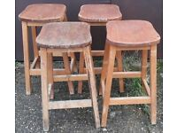 Set Of Four Vintage Elm And Beech School Lab Stools For Your Breakfast Bar