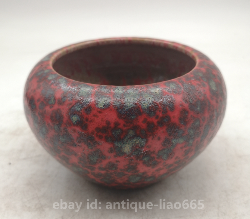 Collect Old China Red Glaze Porcelain Fambe Red Glaze Writing-brush Washer