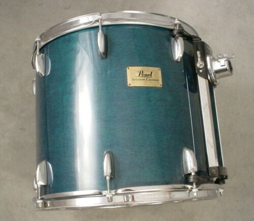 "PEARL SESSION CUSTOM 16"" BLUE STAIN LACQUER MOUNTED TOM DRUM"
