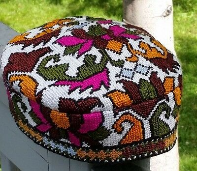 Tribal Ethnic Cross Stitch Traditional Embroidered Floral Hats, Skullcaps, Doppi
