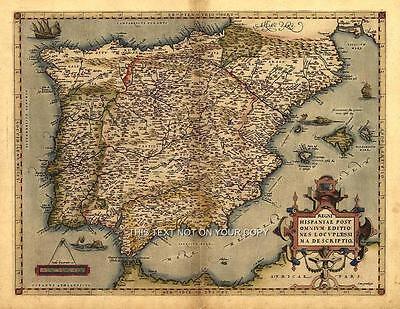 Repro Iberia Spain España Hispania Old Spanish Antique Map Plan Abraham Ortelius