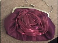 Purple silk clutch bag