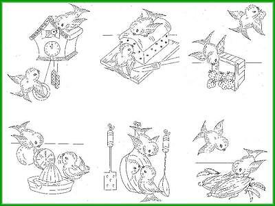 Hand Embroidery Transfer 7017 Busy Birds in the Kitchen for Dish Towels 50s