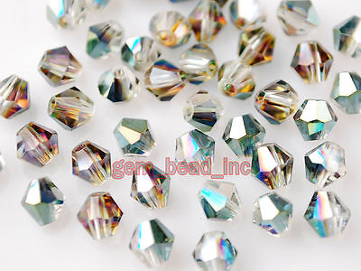 200pcs Hot Colorized Faceted Crystal Glass Loose 5301# Bicone Spacer Beads 4mm