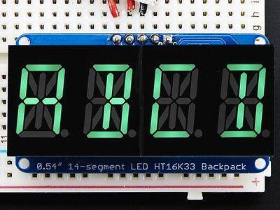"Quad Alphanumeric Display - Pure Green 0.54"" Digits w/ Backpack"