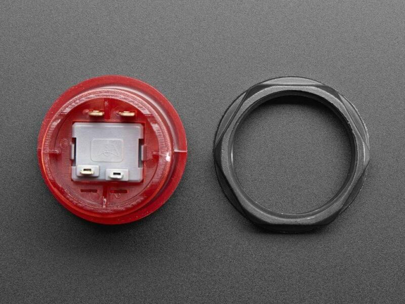 Adafruit Arcade Button with LED - 30mm Translucent Red