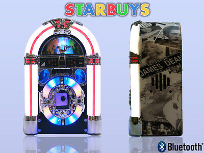 Jukebox Stereo CD Player Machine Vintage 1950s Design AM/FM Radio Aux Bluetooth