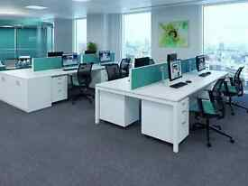 60 - BENCH DESKS -WHITE WITH WHITE FRAMES -EXCELLENT COND - 1400MM X 800MM PER SERSON WITH SCREENS