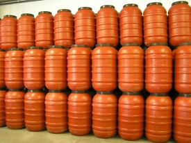 Orange 220 / 200 Litre Plastic HDPE Barrels, Drum Tank Water Butt Waterbutt Brewing Home Brew