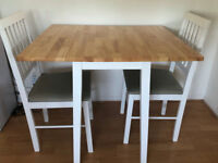 Extendable Wood Table & 2 Chairs