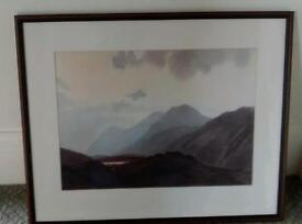 Signed print of Dawn over the Scafells'