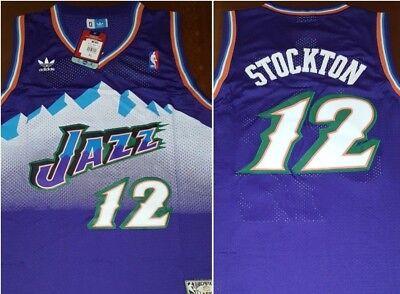 dbd5896e4 Retro Utah Jazz John Stockton  12 Purple Throwback Basketball Jersey Mens Sz  XL