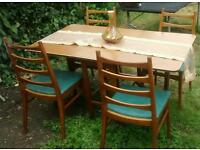 Vintage ladder back chairs & foldaway table 1950s