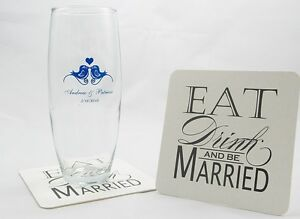Eat Drink and be Married Paper Coasters