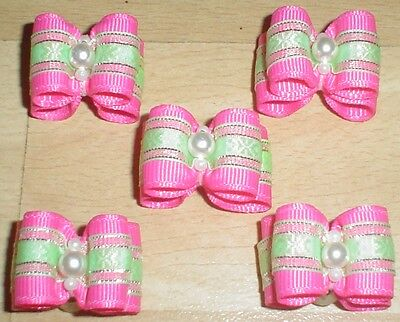 Pretty Pink Show Type Dog Grooming Bows Bead Centre