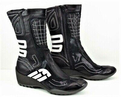 khrio italian leather boots, black n white mettalic detail, wedge heel, size 4