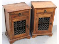 two sheesham side units 90cm tall - delivery available